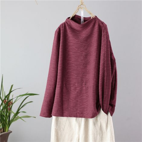 Cotton Turtleneck Tunic Blouse Casual Long Sleeve Tops