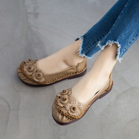 Leather Loafers Flat Shoes Floral Slip On