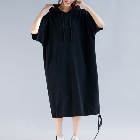 Cotton Loose Dress Casual A-Line Long Hoodie