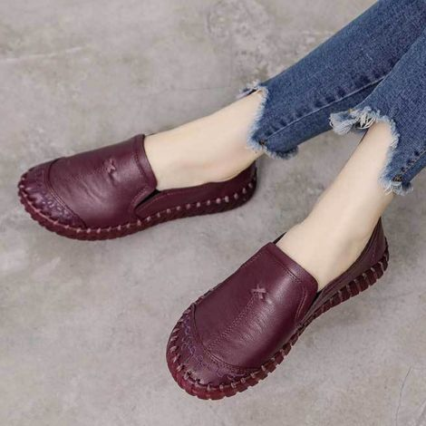 Step-in Embroidery Handmade Driving Slippers Loafer