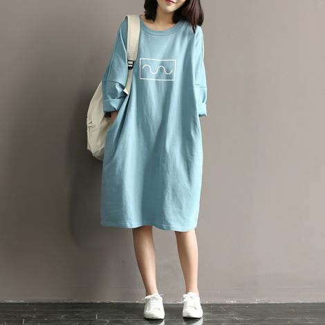 Loose Fit Cotton Solid Knee Long A-line Dress