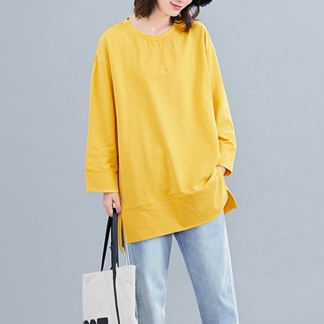 Casual Cotton Tunic Blouse Hi-low Hemline Splitted Tops