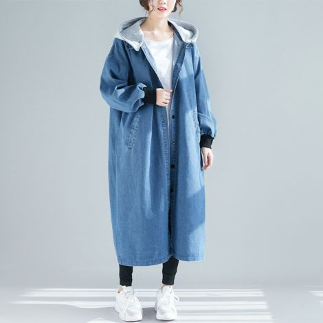 Denim Cotton Long Coat Button Down Hoodie Jacket
