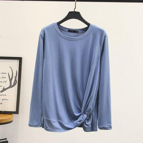 Plus Size Cotton Irregular Long Sleeve Basic T-Shirt
