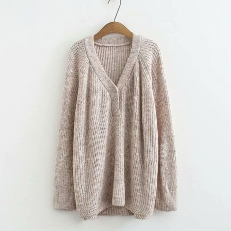 Deep V-Neck Knitted Sweater Solid Plus Size Pullover