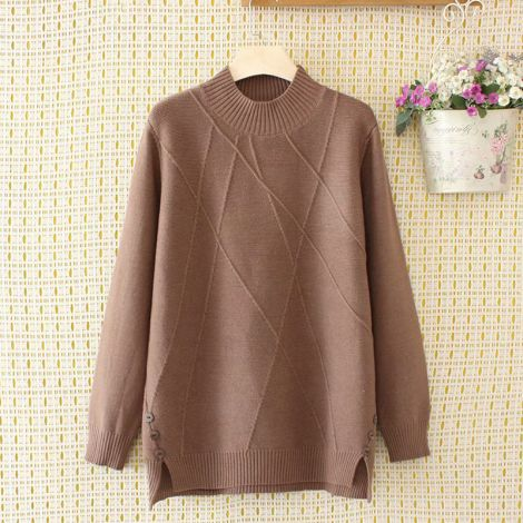 Hi-low Splitted Knitted Sweater Solid Loose Pullover