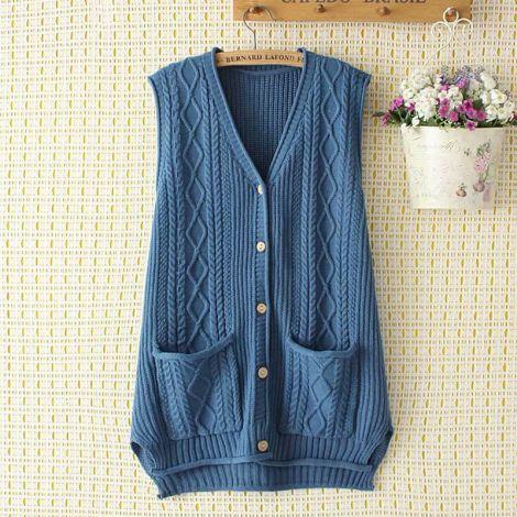 V-Neck Sleeveless Cardigan Knitted Hi-low Vest