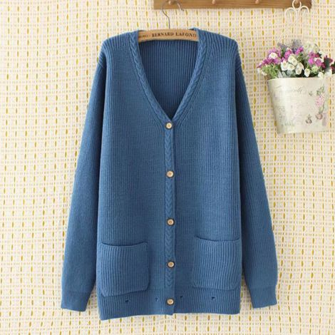 V-Neck Knitted Loose Cardigan Button Down Sweater Coat