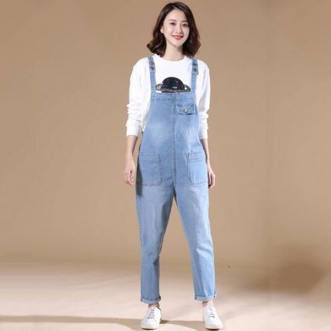 Casual Denim Bib Cropped Overalls Pant Jeans Jumpsuits