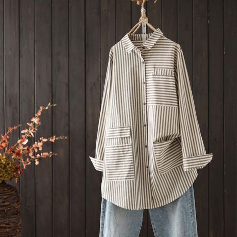 Striped Cotton Tunic Shirt Button Down Blouse Casual Tops