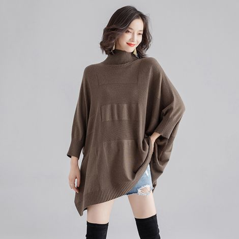 Plus Size Turtleneck Jumper Sweater Batwing Tunic Tops