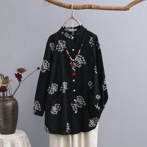 Cotton Embroirdery Shirt Long Sleeve Tunic Tops Blouse