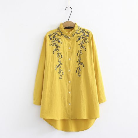 Embroidery Blouses Bottom Down Hi Low Hem Shirt Tops