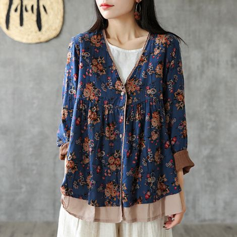 V-Neck Floral Printed Shirt Linen Hi-low Hemline Blouse