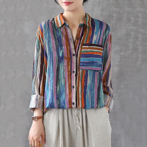Striped Linen Shirt Casual Button Down Long Blouse