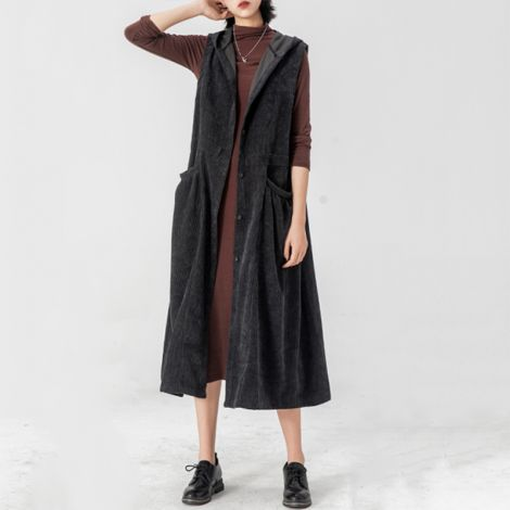 Sleeveless Corduroy Trench Coat Casual Long Hoodie