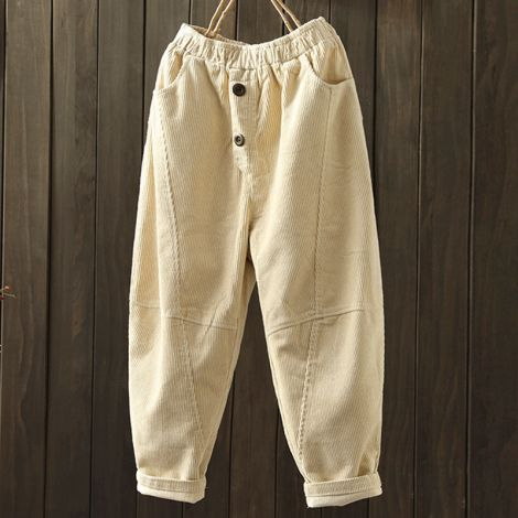 Corduroy Elastic Waist Pants Tapered Ankle Straight Trouser