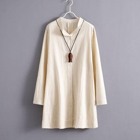 Linen Solid Blouse Stand Collar Shirt Mini Dress