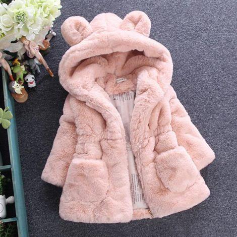 Girls Warm Coats Ear Hooded Faux Fur Fleece Jacket