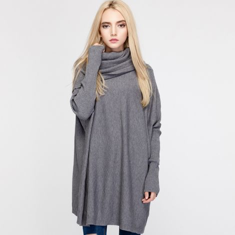 Cowl Neck Sweaters Long Sleeve Knit Pullover Oversized Tops