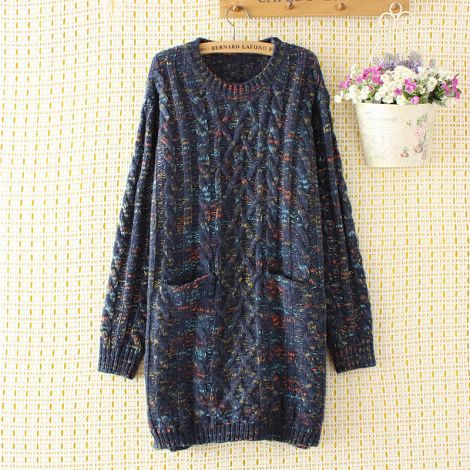Loose Knit Sweater Crewneck Jumper Cable Pullover Tunic