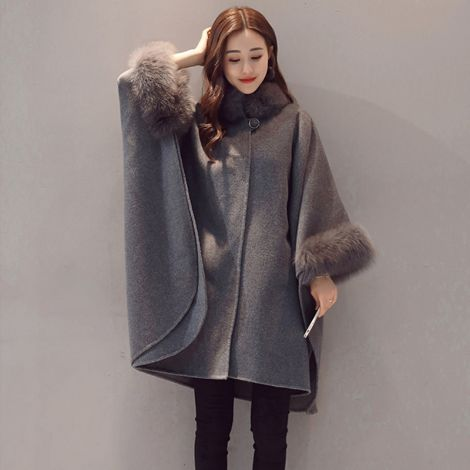 Women's Open Front Cardigans Long Sleeve Woolen Jacket Coat