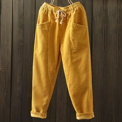 Casual Corduroy Crop Pants with Elastic Drawstring Waist