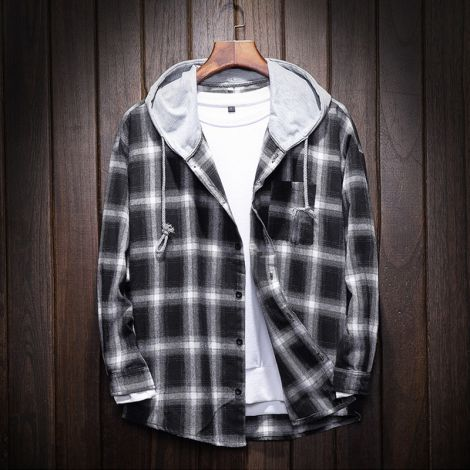 Men's Plaid Hooded Shirts Casual Lightweight Jackets