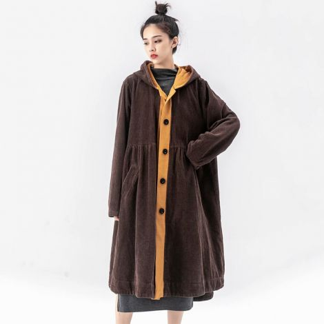 Women's Long Coat Hoodies Patchwork Corduroy Dress