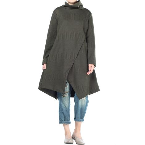 Women's Sweater Tunic Dress Asymmetry Pullovers Tops