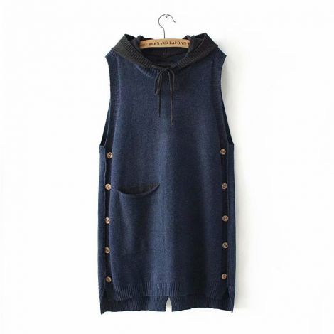 Women's Hoodied Sleeveless Knitted Midi Dress Casual Tunic