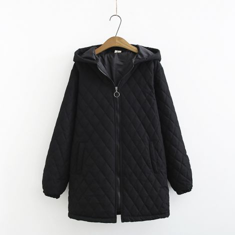 Women's Hoodied Fleece Zipper Coat Casual Jacket
