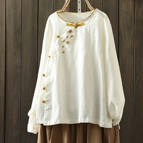 Linen Frog Button Tunic Blouse Long Sleeve Slim Fit Tops