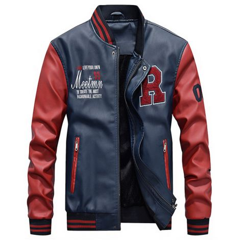 Faux Leather Jacket Casual Baseball Stand Collar Slim Fit Coat