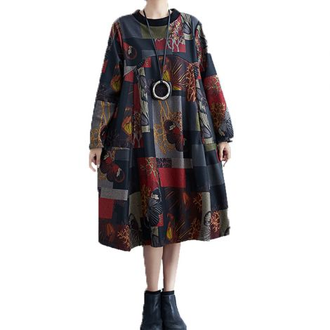 Women's Cotton Printed Tunic Casual Long Sleeve Shirt Dress Round Collar Tops with Pockets