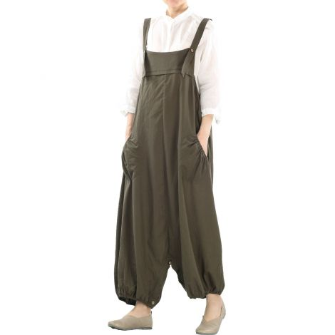 Women's Baggy Cotton Linen Jumpersuit Loose Dress Trousers with Big Pockets
