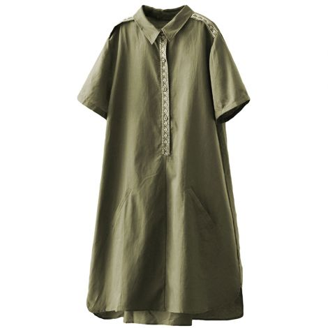 Women's Casual Mid-long Embroidery Dress Stand Collar Shirt Dress