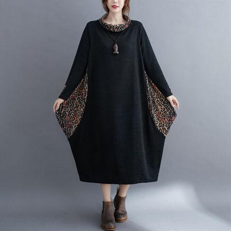 Women's Plus Leopard Print Dress Cotton Long Sleeve Midi Dresses