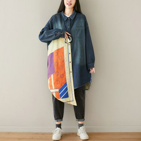 Women's Button-Down Long Shirt Long Sleeve Midi Dress