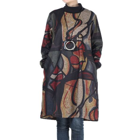 Women's Tunic Abstract Printing Baggy Dress Pullovers