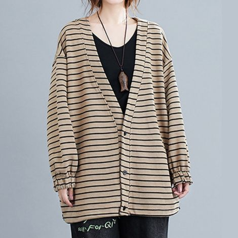 Women's Cotton Button Down Coat Casual Stripe  Long Sleeve  Jacket Outwear With Pockets