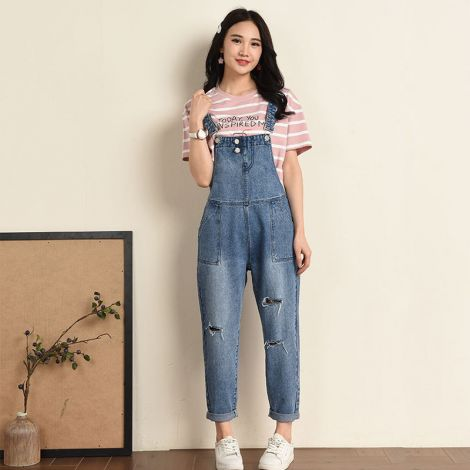 Loose Baggy Denim Wide Leg Drop Crotch Jumpsuit