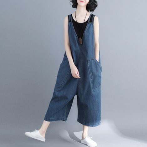 Casual Long jumpsuit Rompers Wide Leg Bibs Overalls Pants