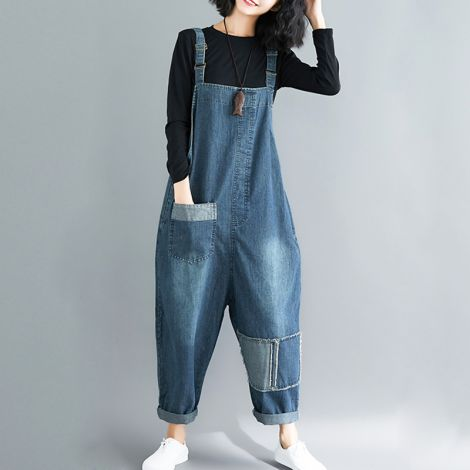 Sleeveless Denim Jumpsuit Pants Casual Overall Dungarees
