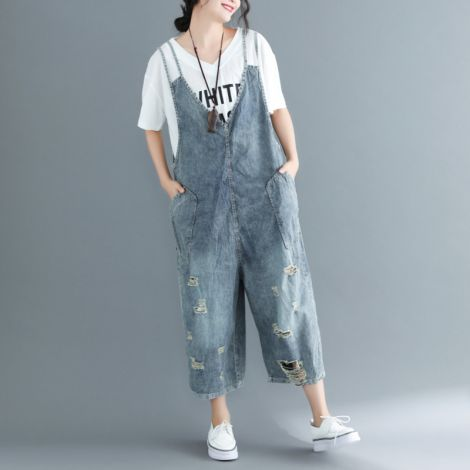 Sleeveless Denim Jumpsuit Pants Loose Overall Dungarees
