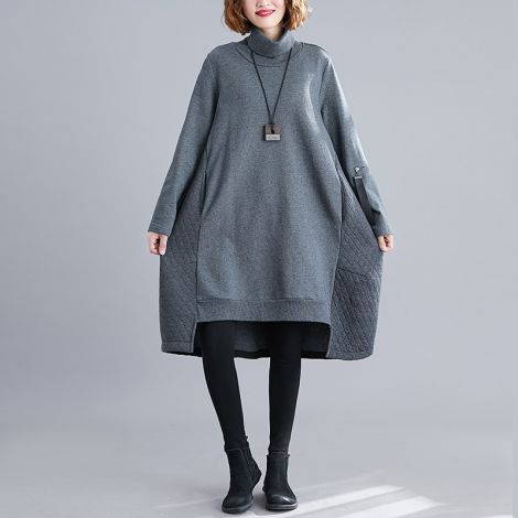 Women's Cotton Turtleneck Dress Casual Long Sleeve Midi Tunic Mid-long Blouse With Pockets