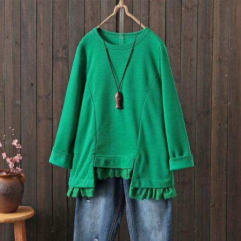 Women's Cotton Long Sleeve Tunic Casual U-shaped Hem Shirt