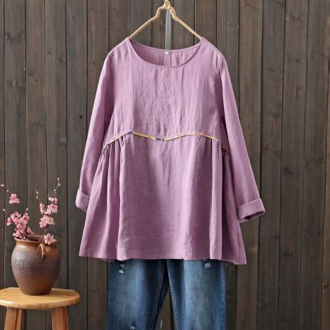 Linen High Waist Long Sleeve Tunic Tops