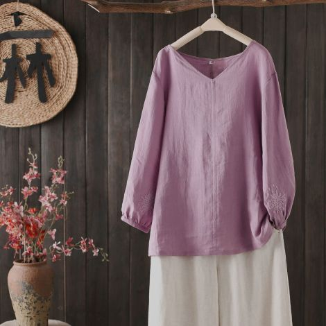 Cotton Linen Loose Tunic Tops With Embroidered Sleeve