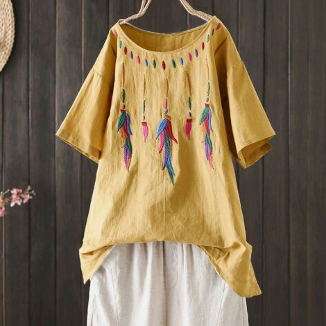 Linen Short Sleeve Embroidered Beach Tops